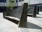 Courtyard seating in new Rhondda Hospital, South Wales, 2007