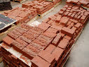 The children's carved bricks after firing by Coleford Brickworks in the Forest of Dean